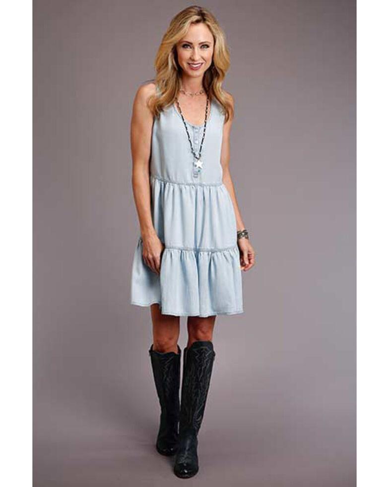 Stetson Women's Light Blue Tiered Tank Dress, Light Blue, hi-res