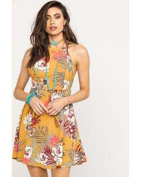 HYFVE Women's Mustard Tropical Floral Open Back Dress, Dark Yellow, hi-res