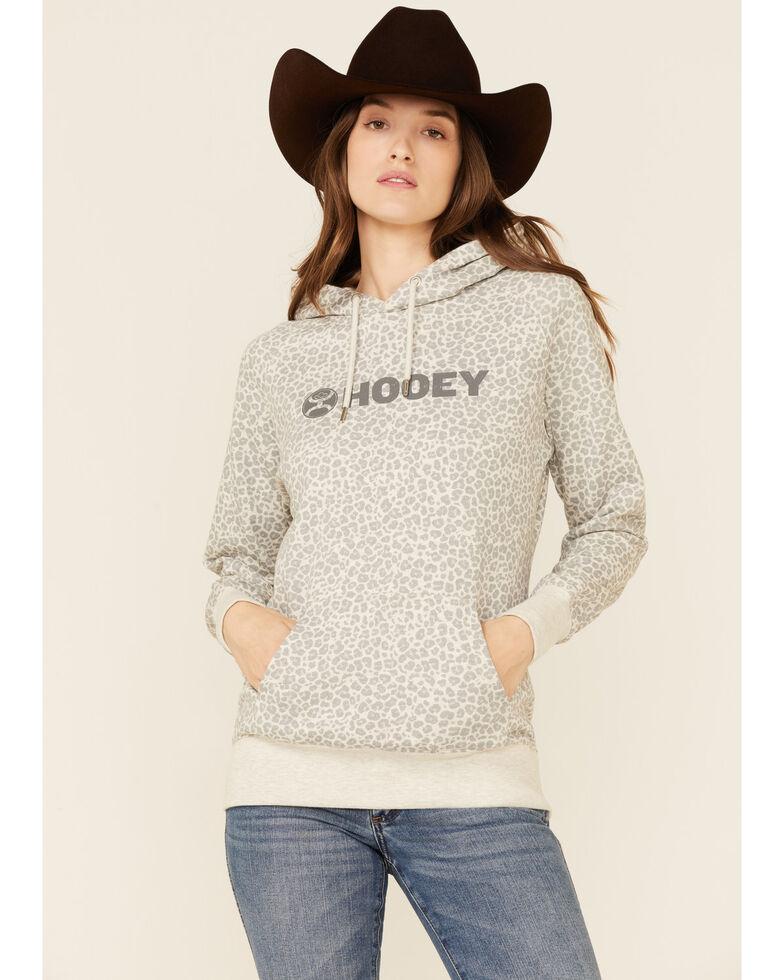 HOOey Women's Grey Leopard Print Logo Pullover Hoodie , Grey, hi-res