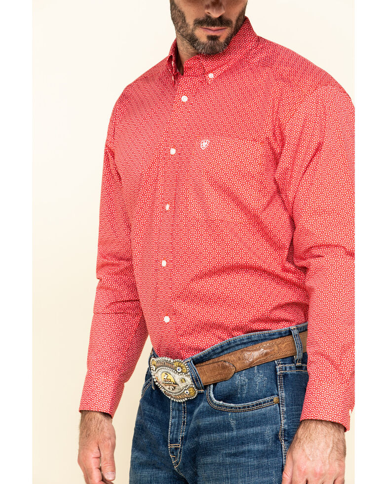 Ariat Men's Nakima Small Geo Print Long Sleeve Western Shirt , Red, hi-res