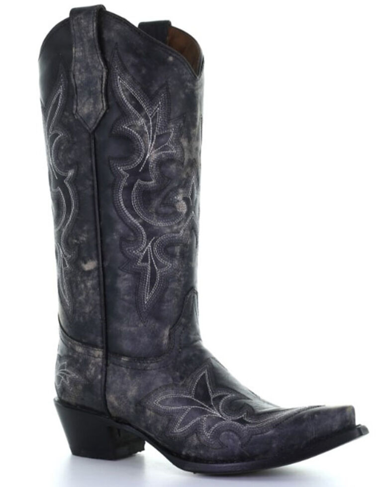 Circle G Women's Black Embroidery Western Boots - Snip Toe, Black, hi-res