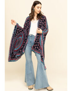 Patrons of Peace Women's Navy Americana Print Kimono, Navy, hi-res