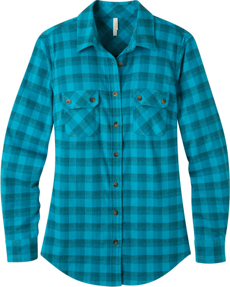 Mountain Khakis Women's Bermuda Peaks Flannel Shirt , Blue, hi-res