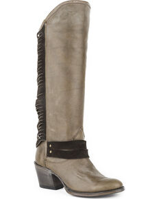 Stetson Women's Dover Suede Lacing Western Boots - Round Toe, Grey, hi-res