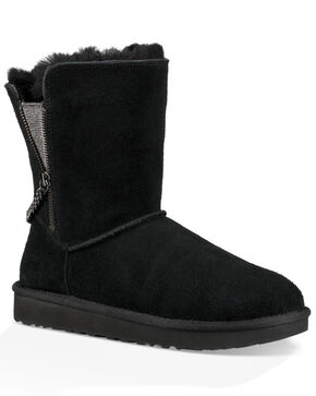UGG Women's Black Classic Short Sparkle Zip Boots - Round Toe, Black, hi-res