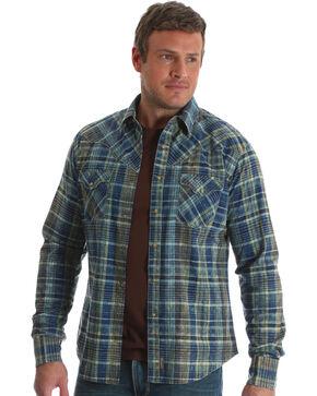 Wrangler Men's Blue Retro Long Sleeve Plaid Shirt - Big & Tall, Blue, hi-res