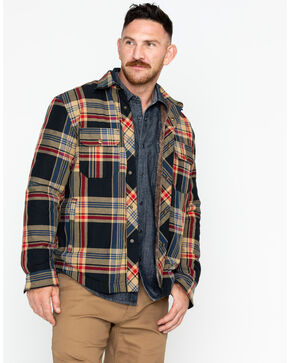 Hawx Men's Plaid Flannel Sherpa-Lined Shirt Work Jacket, Brown, hi-res