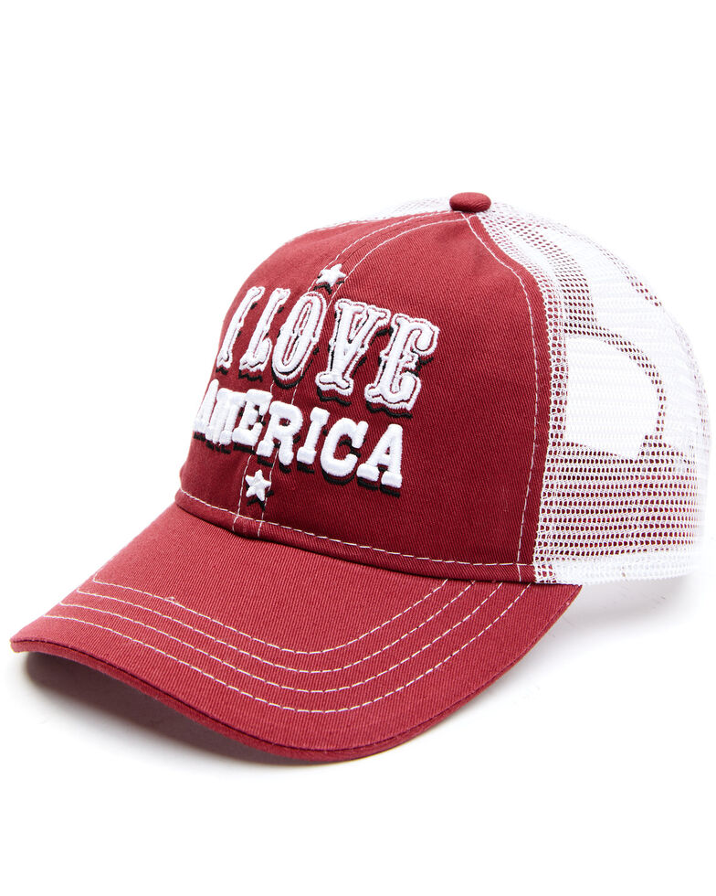 Shyanne Women's I Love America Embroidered Mesh-Back Ball Cap , Red, hi-res