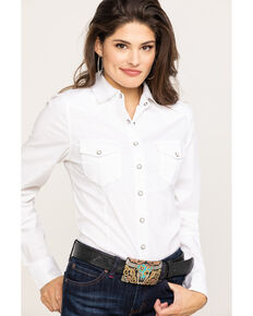 Shyanne Life Women's Solid Core Riding Long Sleeve Shirt, White, hi-res