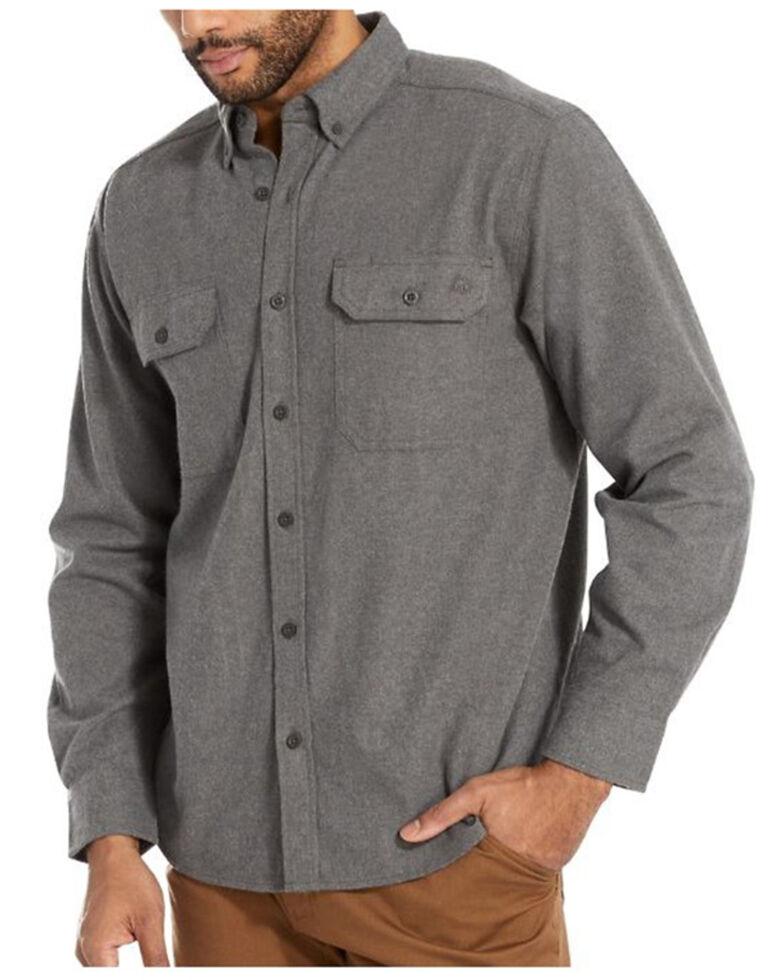 Wolverine Men's Solid Grey Glacier Midweight Long Sleeve Flannel Work Shirt , Grey, hi-res
