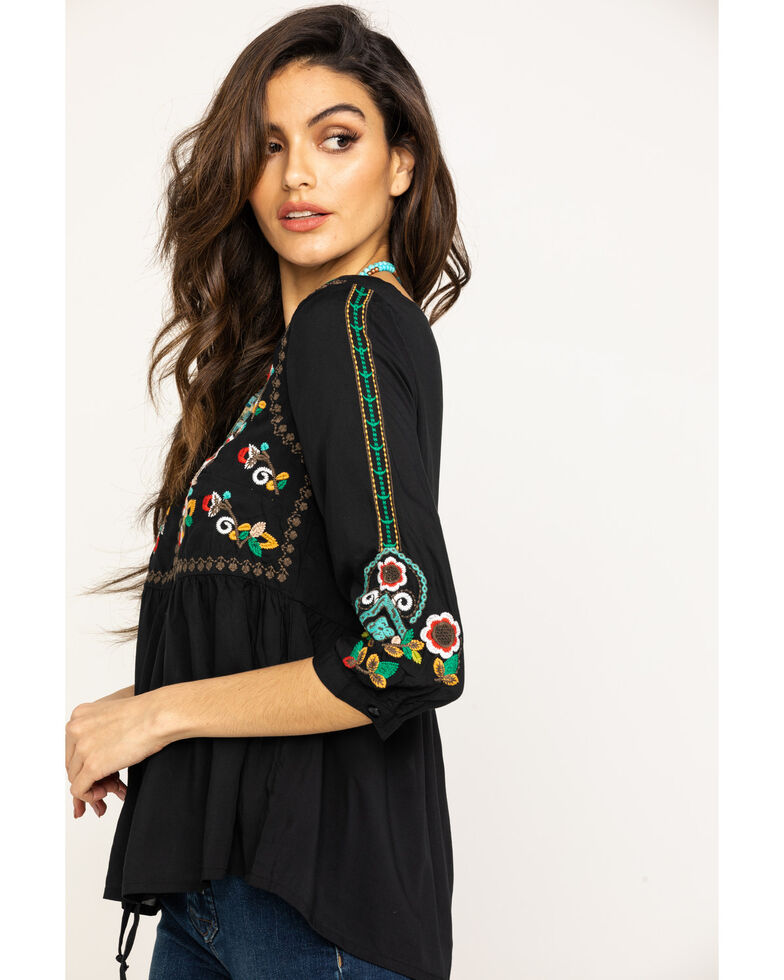 Studio West Women's Embroidered Peasant Blouse, Black, hi-res