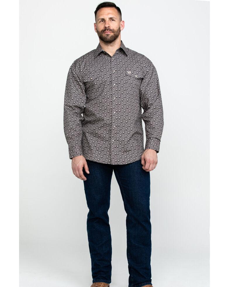 Panhandle Select Men's Tan Poplin Print Long Sleeve Western Shirt , Tan, hi-res
