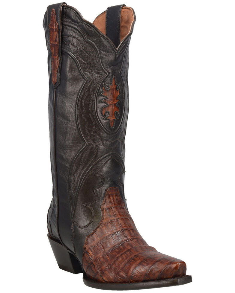 Dan Post Women's Chocolate Caiman Belly Western Boots - Snip Toe, Chocolate, hi-res