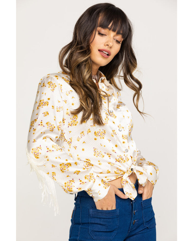 Rock & Roll Denim Women's Ivory Floral Fringe Long Sleeve Rodeo Shirt , Natural, hi-res