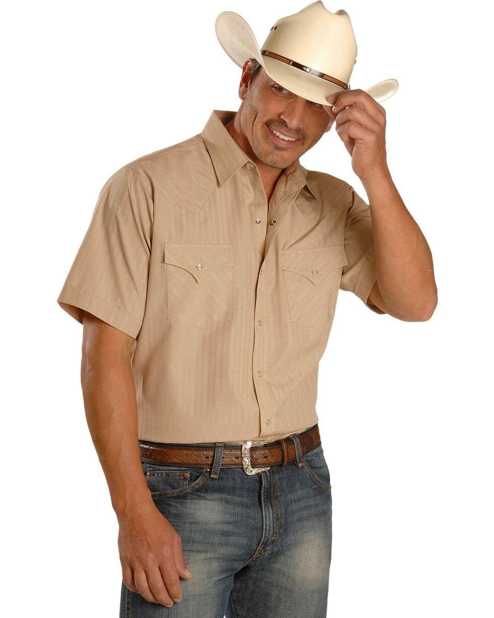 Ely Cattleman Men's Tone On Tone Western Shirt, Khaki, hi-res