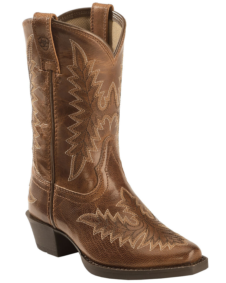 Ariat Youth Girls' Brooklyn Western Boots, Tan, hi-res