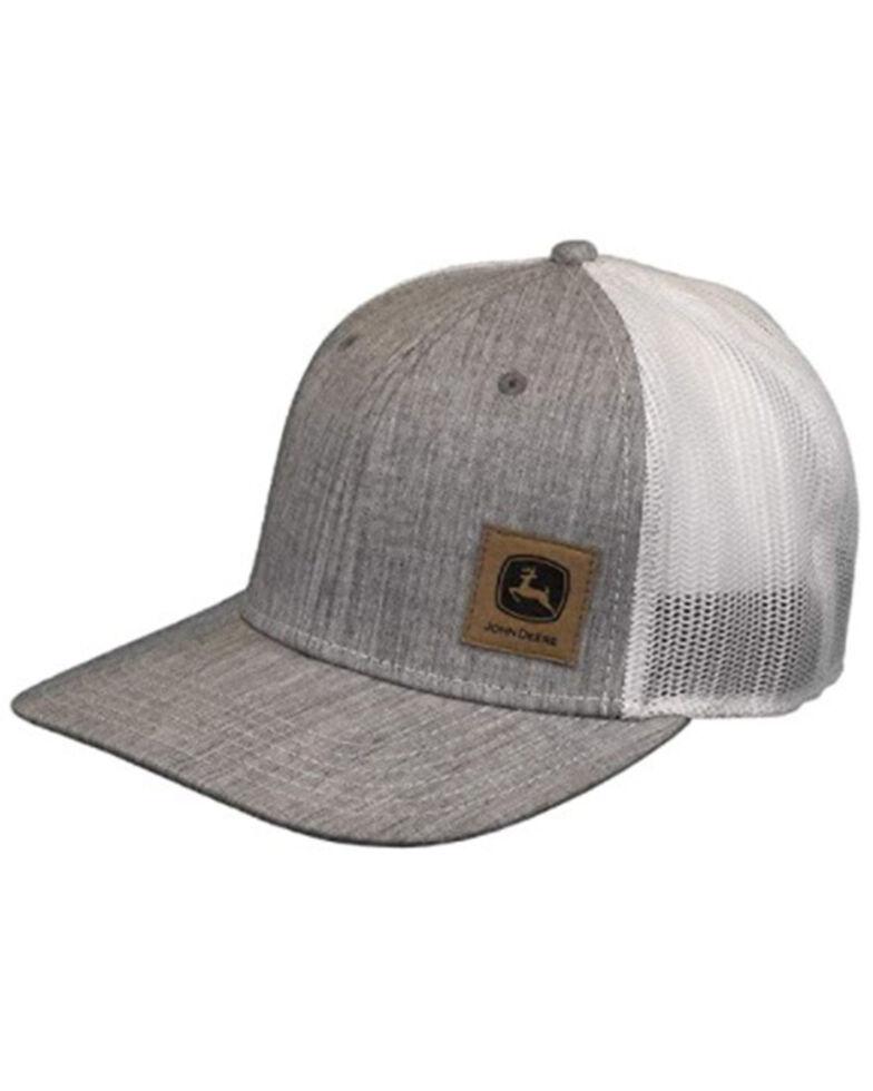 John Deere Men's Heather Grey & White Logo Patch Mesh-Back Ball Cap , Grey, hi-res