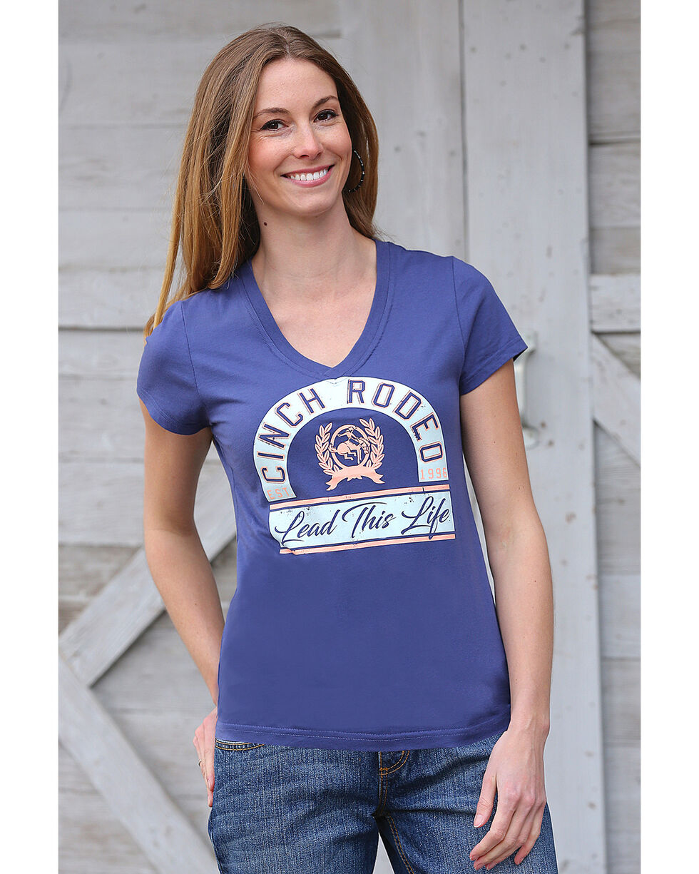 Cinch Women's Blue Cotton Jersey V-Neck Tee , Blue, hi-res
