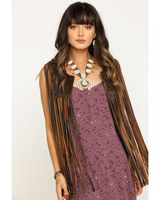 Cripple Creek Women's Coffee Bean Open Front Long Fringe Vest, Brown, hi-res