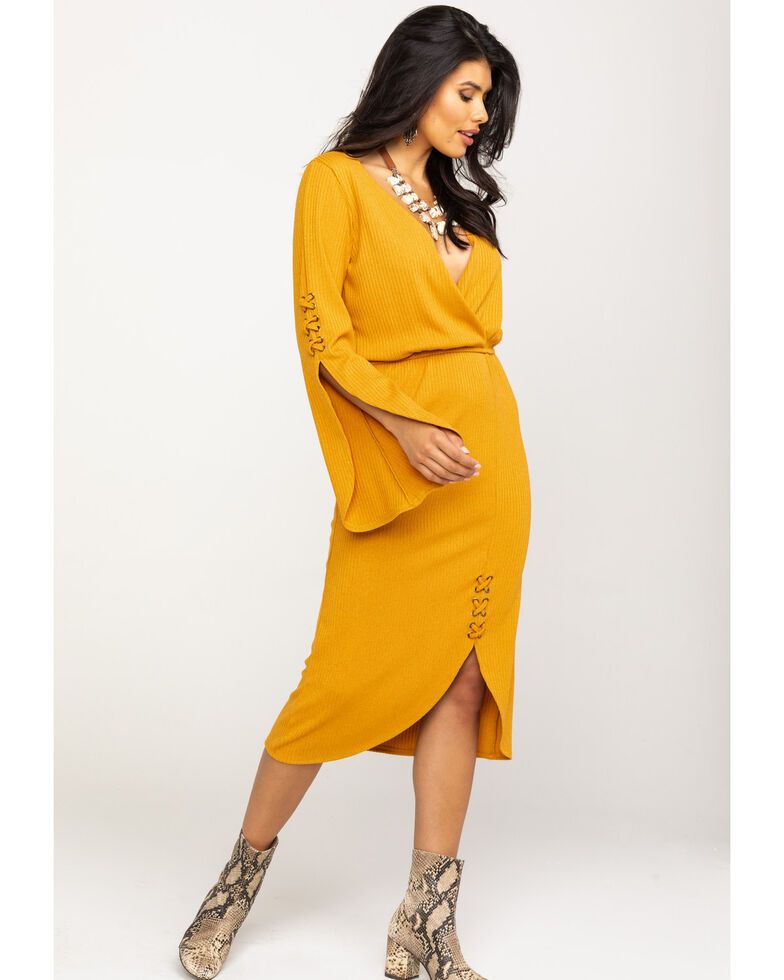 Rock & Roll Cowgirl Women's Mustard Ribbed Bell Sleeve Dress , Dark Yellow, hi-res