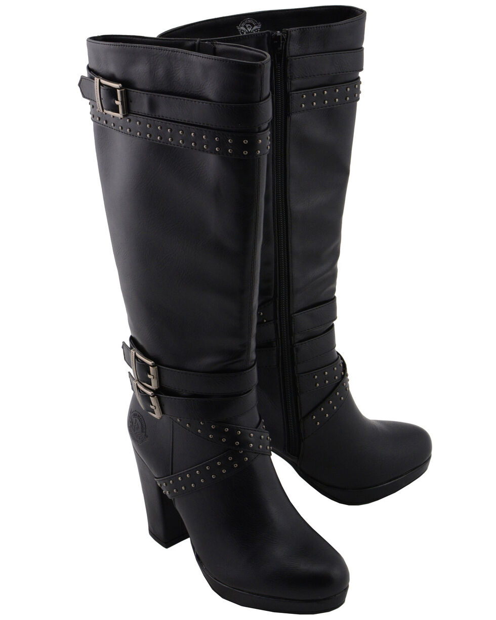 Milwaukee Leather Women's Platform Heel Studded Strap Boot - Round Toe, Black, hi-res