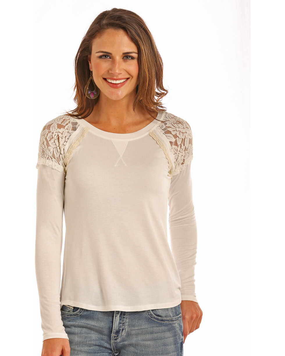 Rock & Roll Cowgirl Women's Natural Lace Inset Top , Natural, hi-res