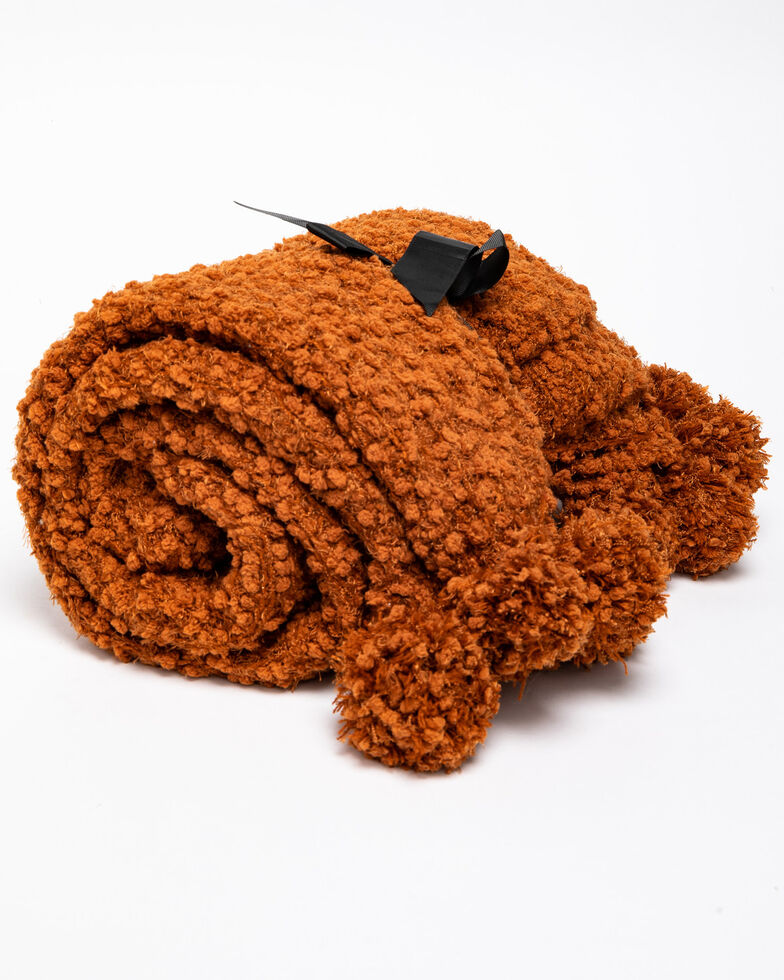 Boot Barn Ranch Chunky Rust Knit Throw Blanket, Rust Copper, hi-res