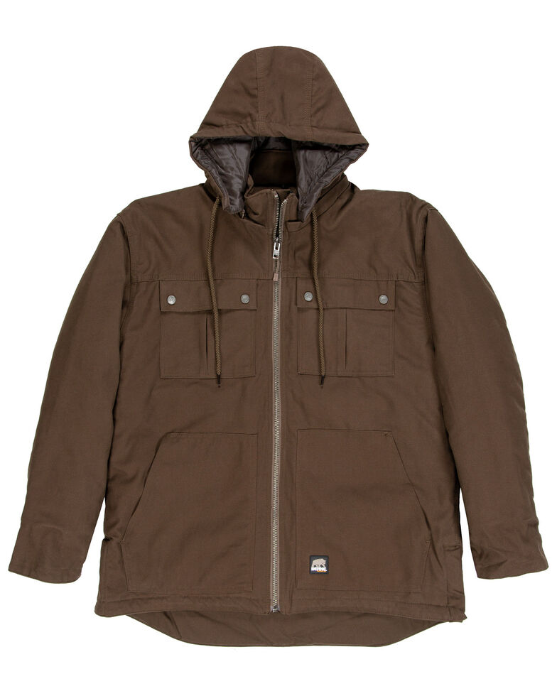 Berne Men's Brown Modern Zip Off Hooded Work Chore Coat - Big , Brown, hi-res