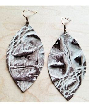 Jewelry Junkie Women's Grey Gator Print Oval Leather Earrings, Grey, hi-res