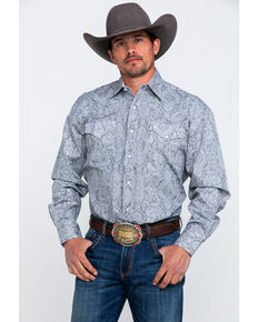 231afbd2 Stetson Men's Grey Paisley Print Long Sleeve Western Shirt
