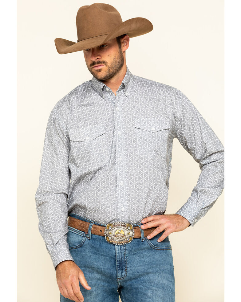 Roper Men's Amarillo Smoke Medallion Geo Print Long Sleeve Western Shirt , Grey, hi-res