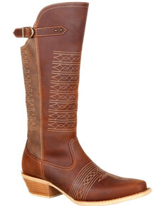 Durango Women's Crush Belted Collar Western Boots - Snip Toe, Chestnut, hi-res