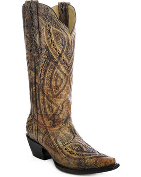 Corral Women's Distressed Embroidered Western Boots, Antique Saddle, hi-res