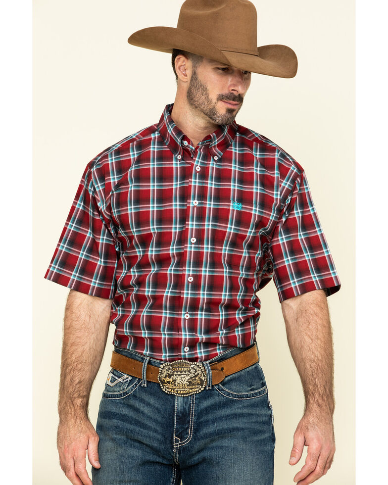 Cinch Men's Large Red Plaid Short Sleeve Western Shirt , Red, hi-res