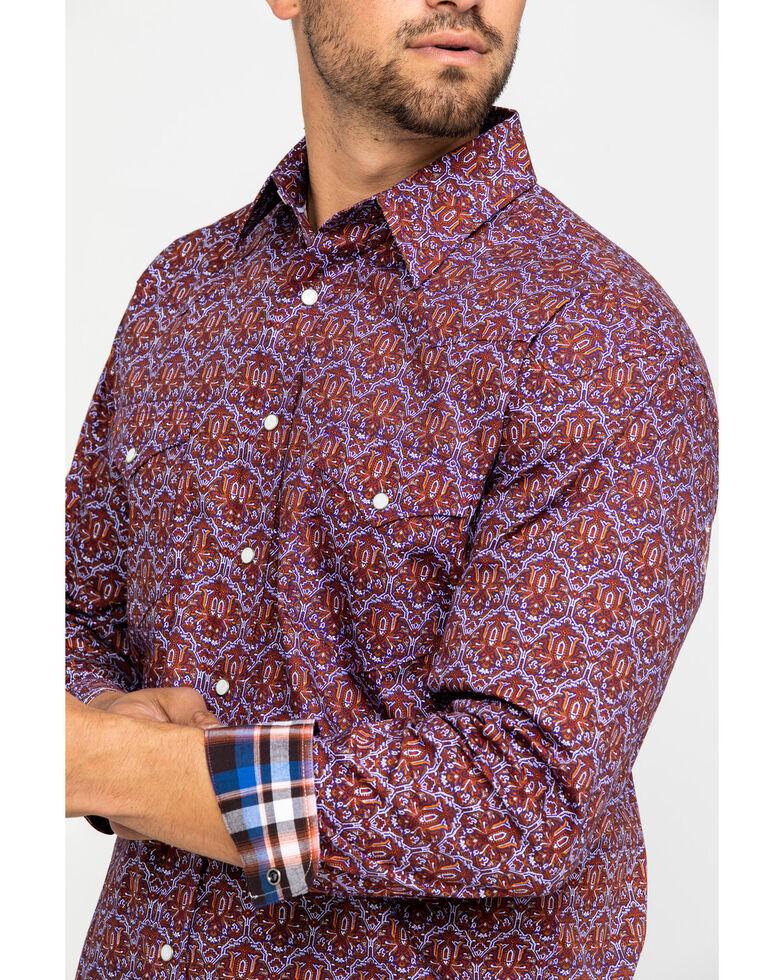 Rough Stock By Panhandle Men's Granville Aztec Print Long Sleeve Western Shirt , Grape, hi-res