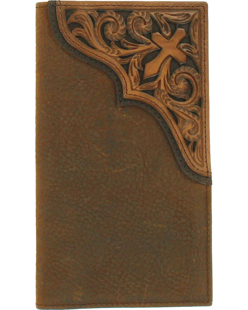 Ariat Men's Tooled Cross Leather Rodeo Wallet , Medium Brown, hi-res
