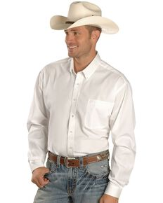 Cinch Men's Solid Long Sleeve Western Shirt, White, hi-res