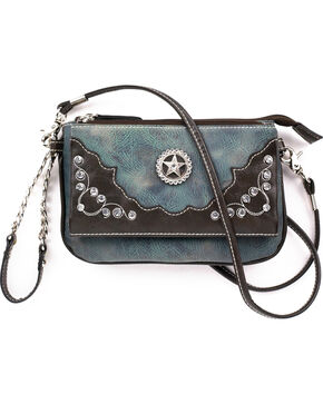 Blazin Roxx Women's Rhinestone Embellishments Star Wristlet , Blue, hi-res