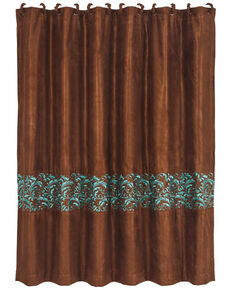 HiEnd Accents Brown Wyatt Scroll Shower Curtain , Brown, hi-res