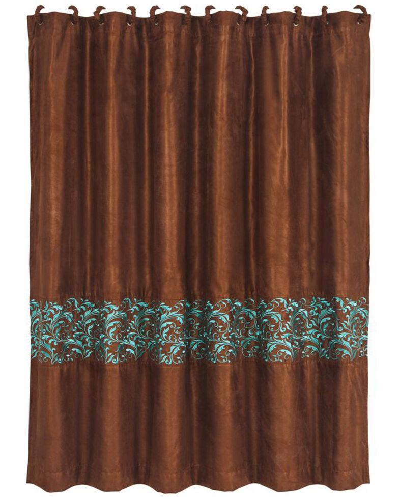 HiEnd Accents Brown Wyatt Scroll Shower Curtain , Brown, hi-res