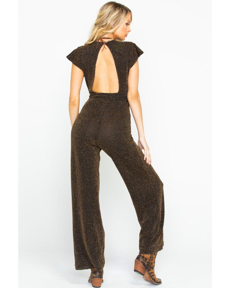 Angie Women's Lurex Deep V-Neck Jumpsuit, Gold, hi-res