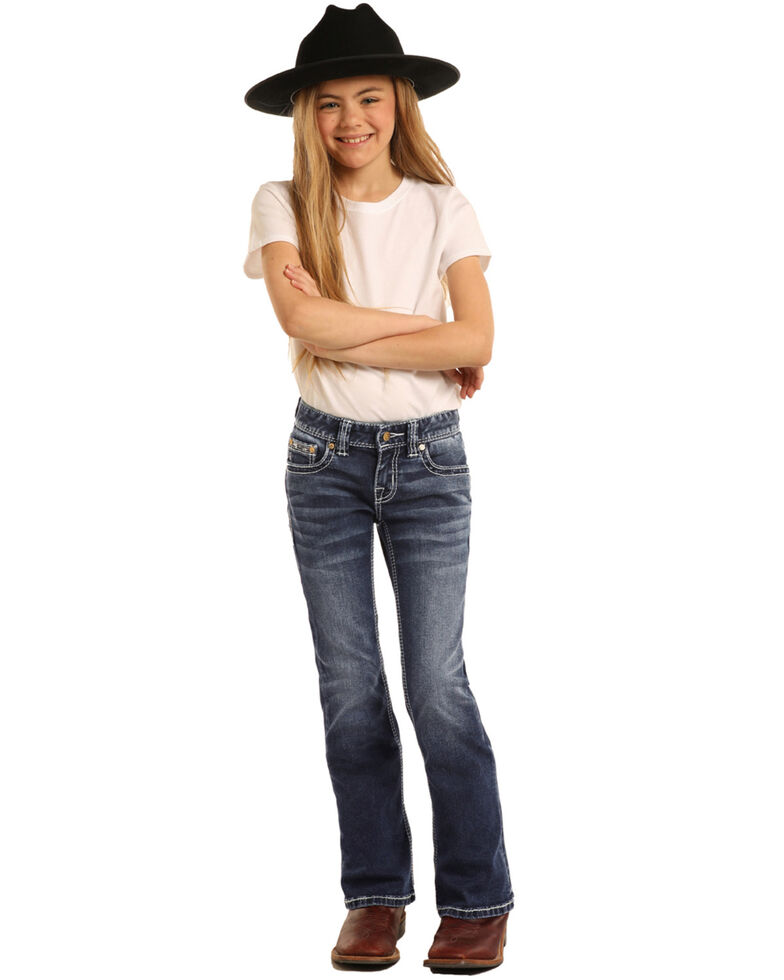 Rock & Roll Cowgirl Girls' Star & Horseshoe Medium Bootcut Jeans, Blue, hi-res