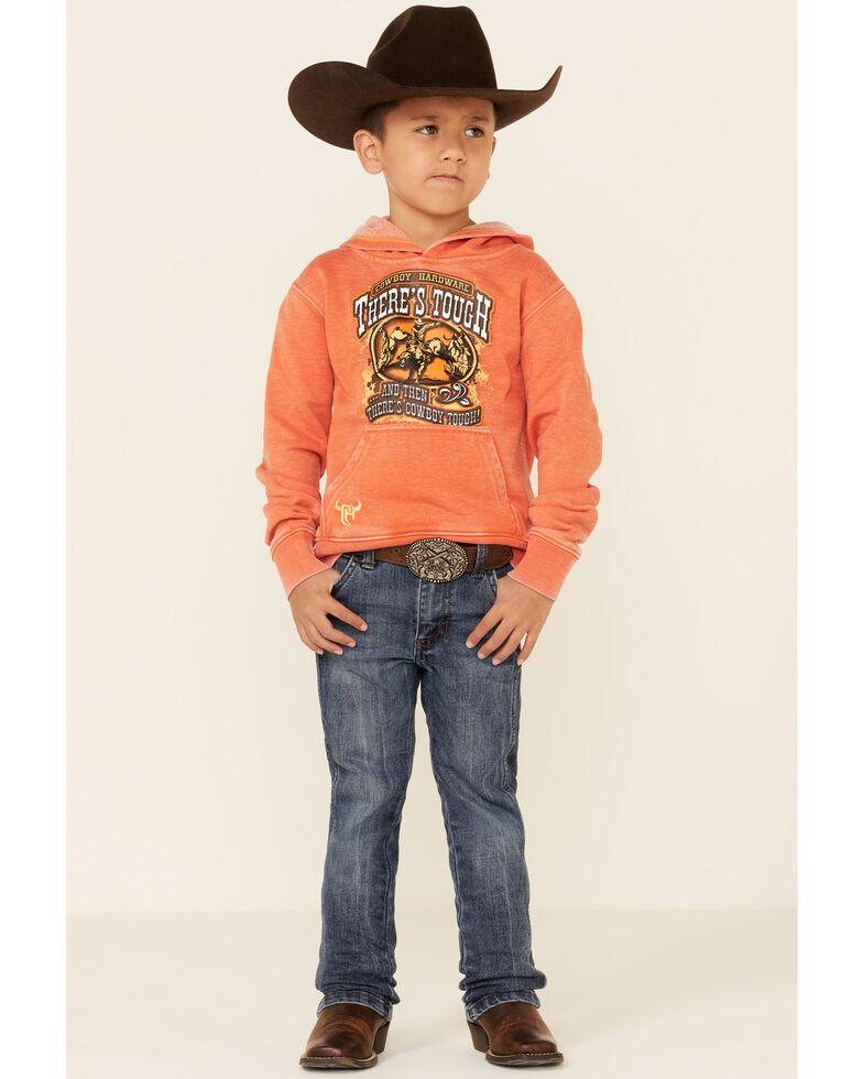 Cowboy Hardware Boys' Orange There's Tough Graphic Hooded Sweatshirt , Orange, hi-res