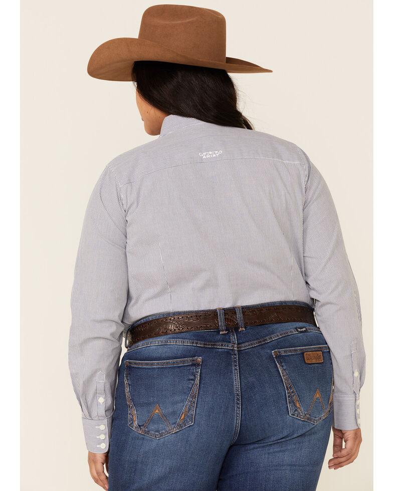 Ariat Women's Blue Magazine Striped Kirby Long Sleeve Western Shirt - Plus, Blue, hi-res