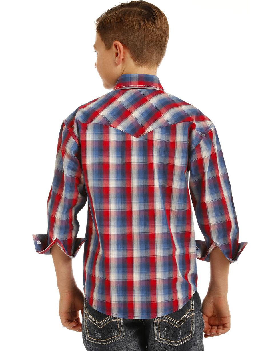 Rock & Roll Cowboy Boys' Plaid Long Sleeve Snap Shirt, Red/white/blue, hi-res