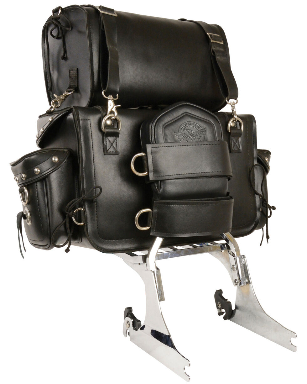 Milwaukee Leather Two Piece Studded Touring Sissy Bar Bag, Black, hi-res