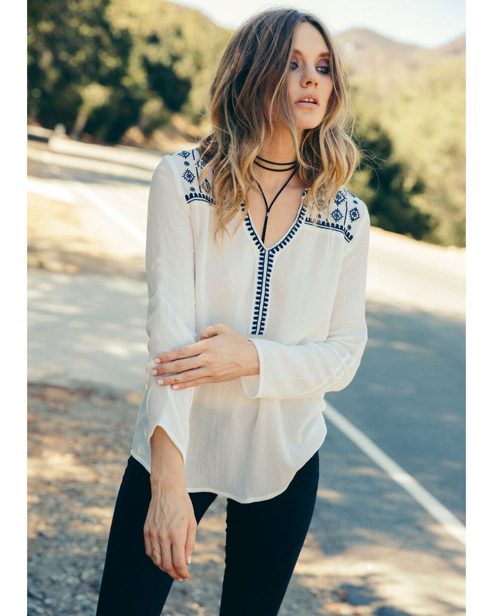 Sadie & Sage Women's White Parker Blouse, White, hi-res