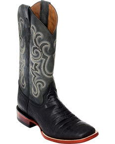 Ferrini Men's Black Caiman Belly Print Western Boots - Square Toe , Black, hi-res