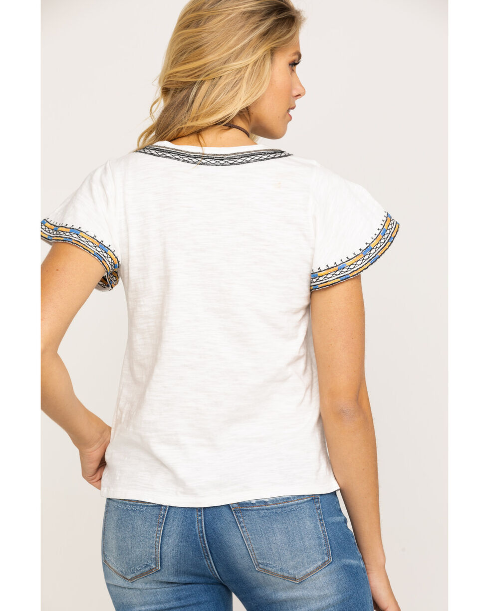 Miss Me Women's White Move Along Embroidered Short Sleeve Top, White, hi-res