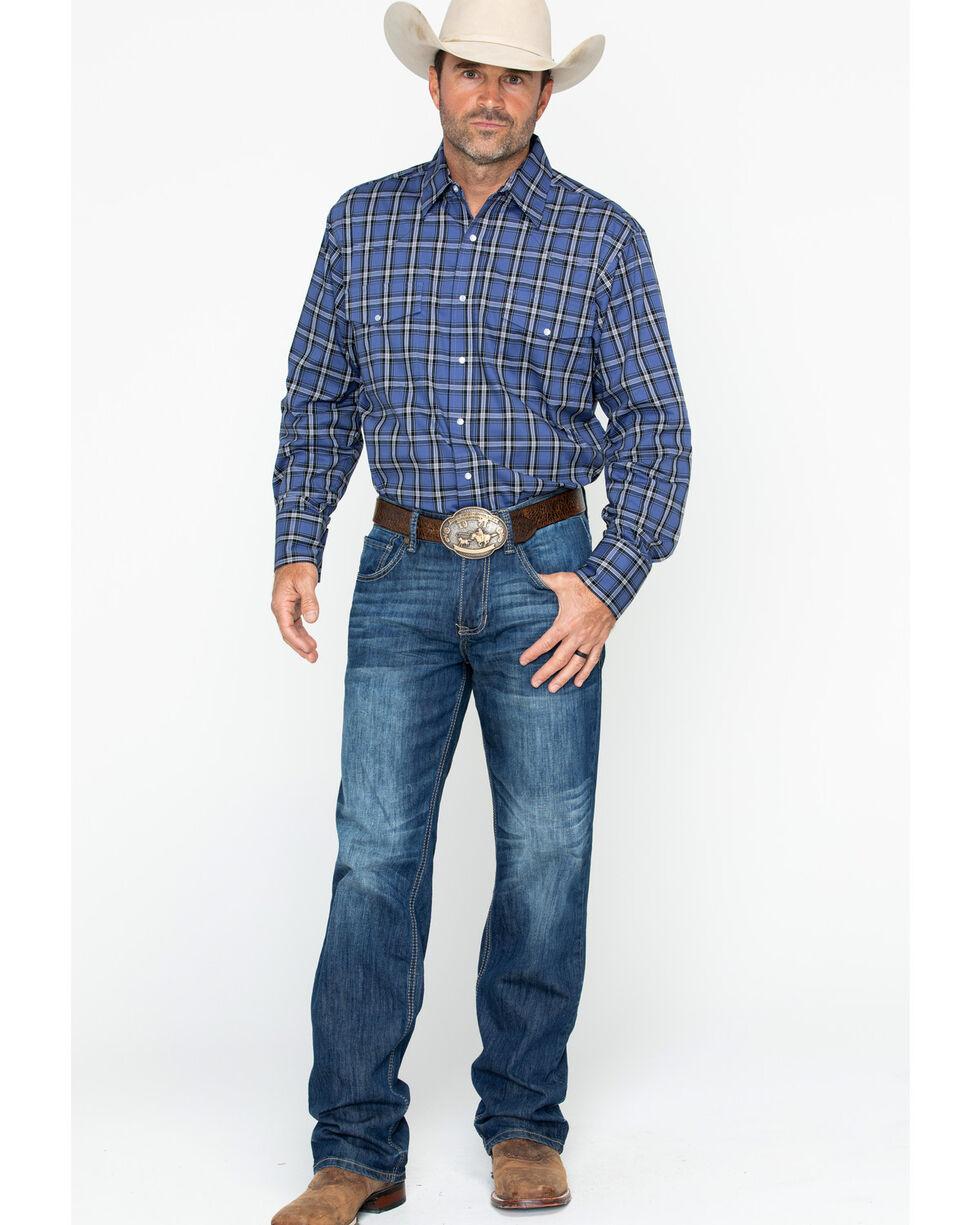 Wrangler Men's Long Sleeve Multi-Color Wrinkle Resist Plaid Shirt , Black/blue, hi-res